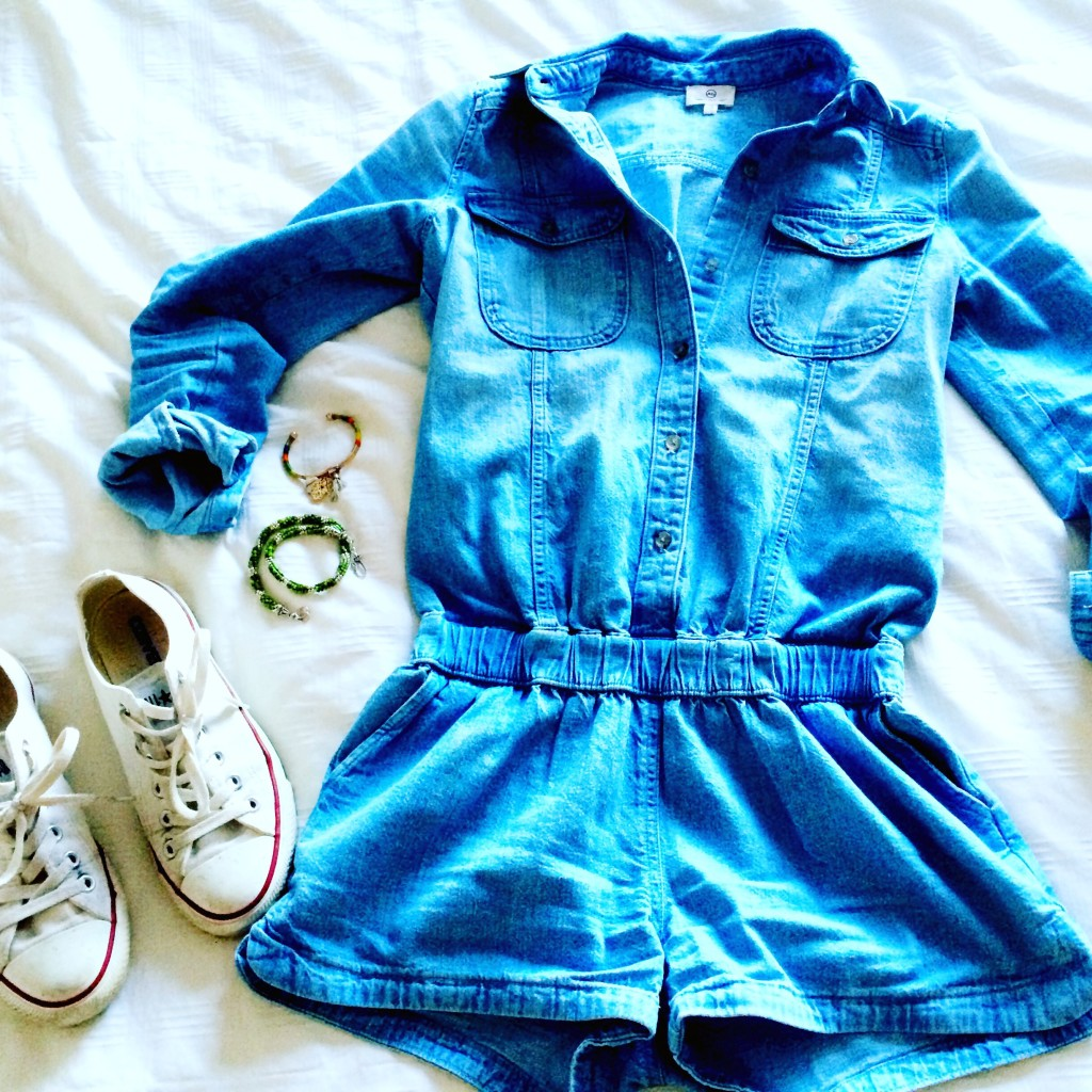 chambray romper for fall