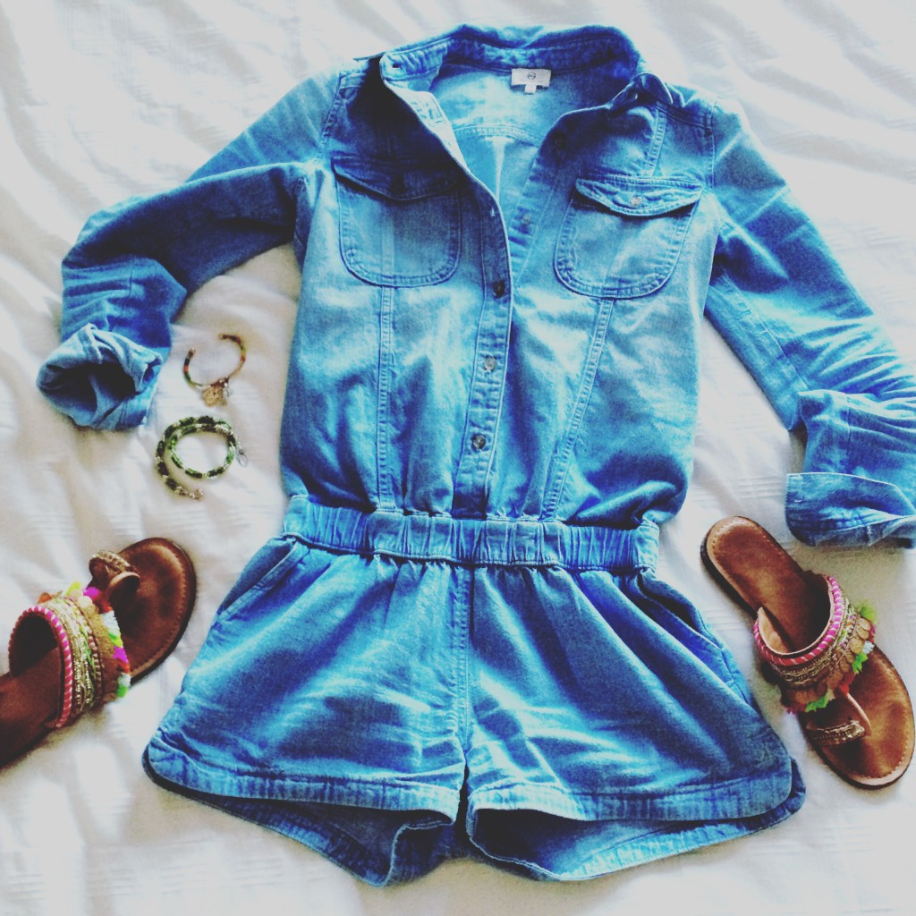 chambray romper for fall 2